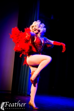 Alluring red! Lena Mae photo by Val Rose/Feather Photography